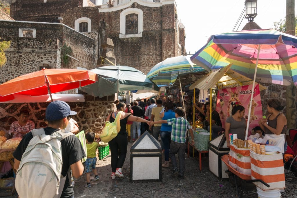 Market scene in pilgrimage town of Chalma, Mexico